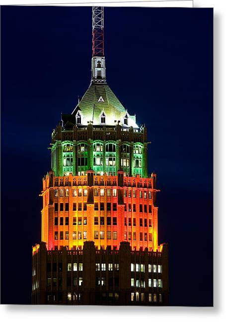 Tower Lit Up At Night, Tower Of The Greeting Card