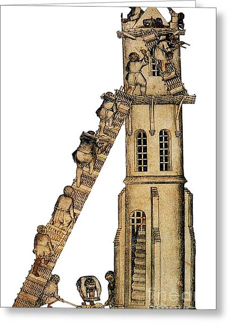 Tower Of Babel, 14th Century Greeting Card by Photo Researchers
