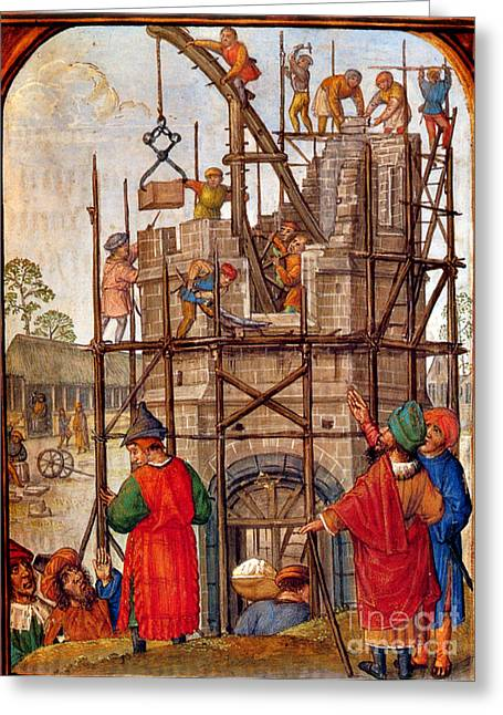 Tower Of Babel, Flemish Book Of Hours Greeting Card by Photo Researchers