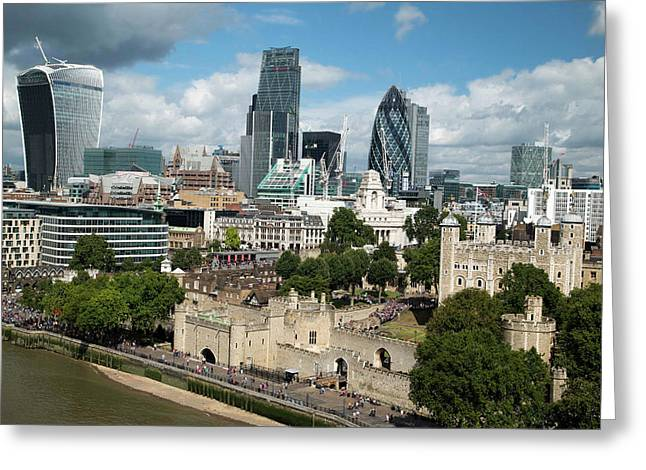 Tower Of London And City Skyscrapers Greeting Card by Mark Thomas