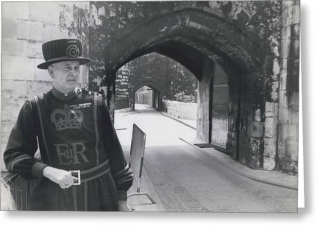 Tower Of London Closed By Beefeater Strike Greeting Card by Retro Images Archive