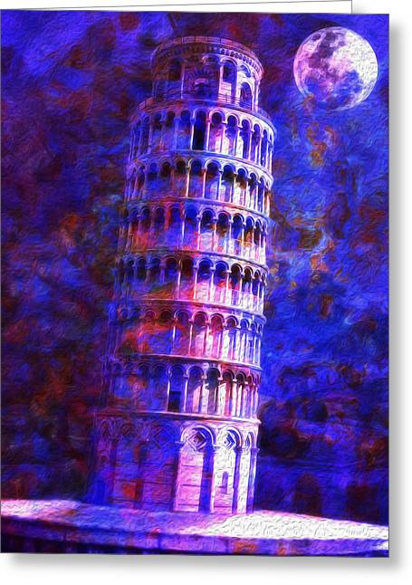 Tower Of Pisa By Moonlight Greeting Card