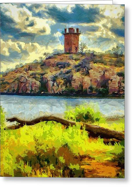 Tower On The Bluff Greeting Card by Jeff Kolker
