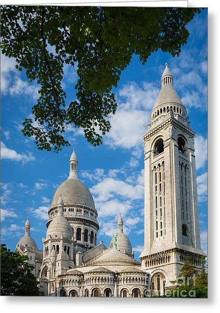 Christianity Greeting Cards - Towering Sacre-Coeur Greeting Card by Inge Johnsson