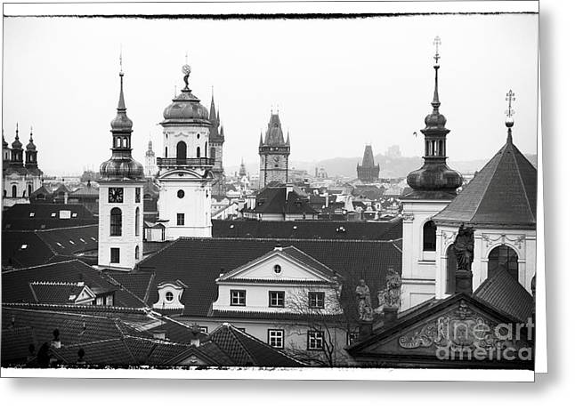 Towers Of Prague Greeting Card by John Rizzuto