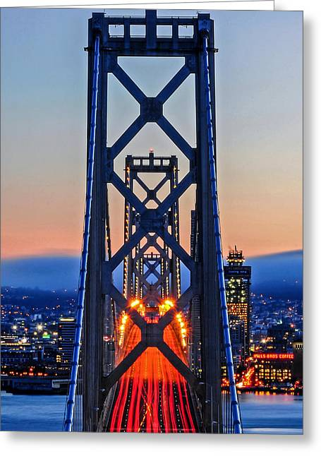 Towers Of The Bay Bridge Perfectly Aligned Greeting Card