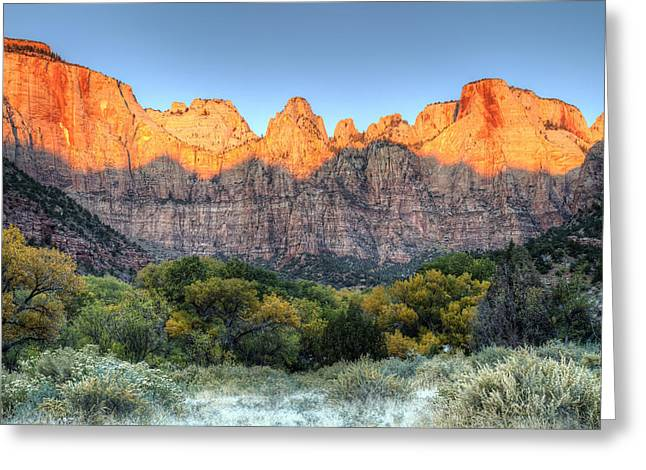 Towers Of The Virgin Sunrise In Zion National Park Greeting Card by Pierre Leclerc Photography