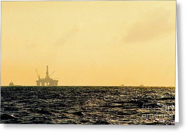 Towing A Platform In The Gulf Of Mexico Off The Coast Of Louisiana Greeting Card by Michael Hoard
