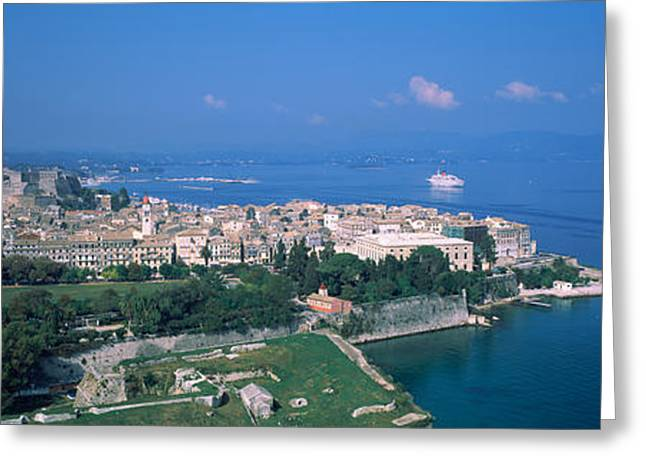 Town At The Waterfront, Corfu, Greece Greeting Card by Panoramic Images