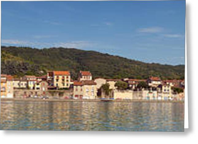 Town At The Waterfront, Rhone River Greeting Card by Panoramic Images