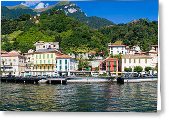 Town At The Waterfront, Tremezzo, Lake Greeting Card by Panoramic Images