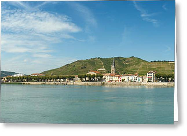 Town At The Waterfront, Vineyards Greeting Card by Panoramic Images