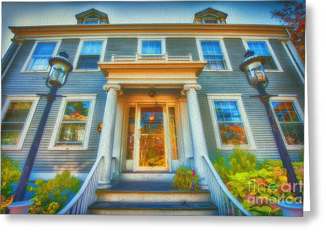 Town House Nantucket And Two Lamps 001 Greeting Card