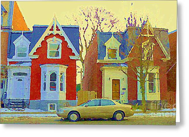 Town Houses In Winter Suburban Side Street South West Montreal City Scene Pointe St Charles Cspandau Greeting Card by Carole Spandau