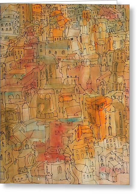Town II Greeting Card by Oscar Penalber
