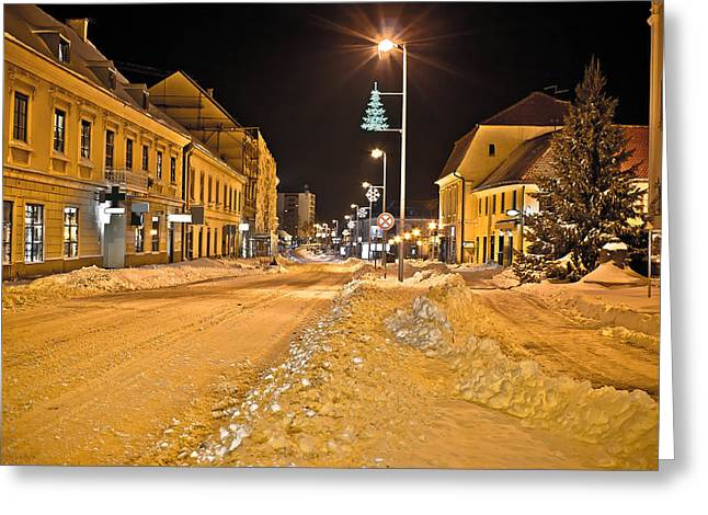 Town In Deep Snow On Christmas  Greeting Card by Brch Photography