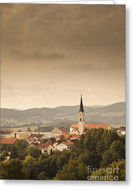 Town Of Schonberg Lower Bavaria Germany Europe Greeting Card