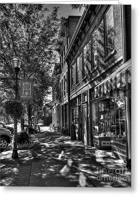 Town Of The Rising Sun Bw Greeting Card by Mel Steinhauer