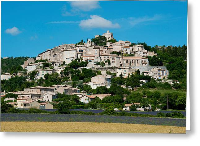 Town On A Hill, D51, Sault, Vaucluse Greeting Card by Panoramic Images