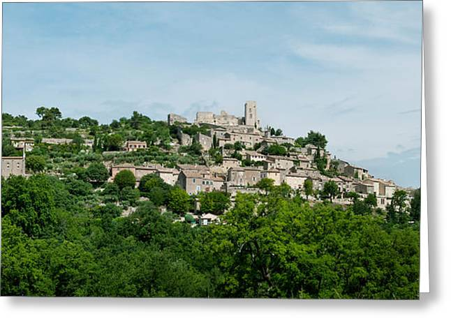 Town On A Hill, Lacoste, Vaucluse Greeting Card by Panoramic Images