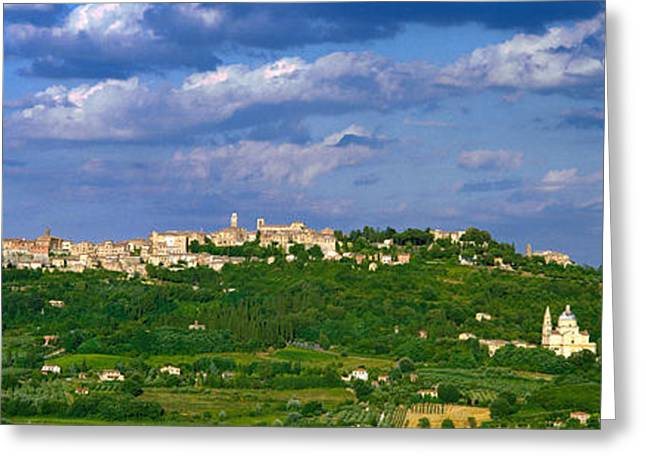 Town On A Hill, Montepulciano, Val Di Greeting Card