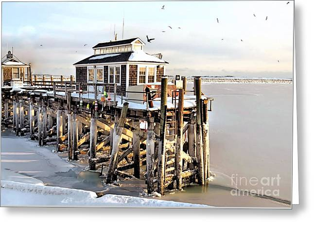 Town Pier Frozen Greeting Card