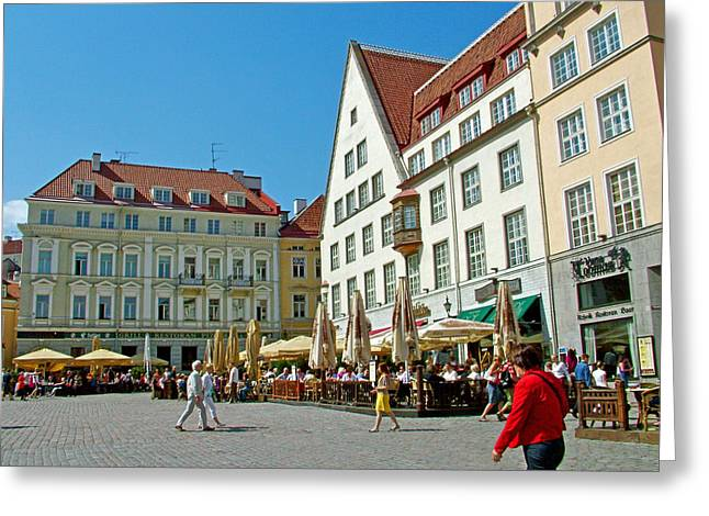 Town Square In Old Town Tallinn-estonia Greeting Card by Ruth Hager