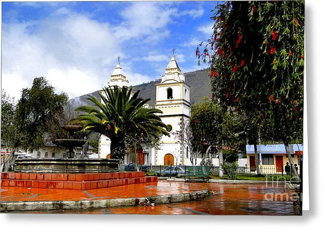 Town Square In Penipe Ecudor Greeting Card by Al Bourassa