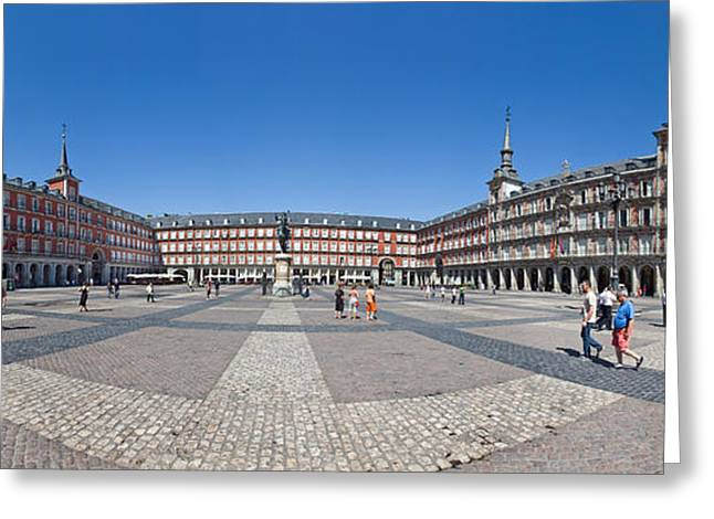Town Square, Plaza Mayor, Madrid, Spain Greeting Card