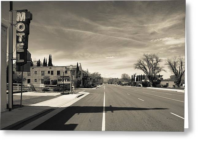 Town View Along U.s. Route 395 Greeting Card by Panoramic Images