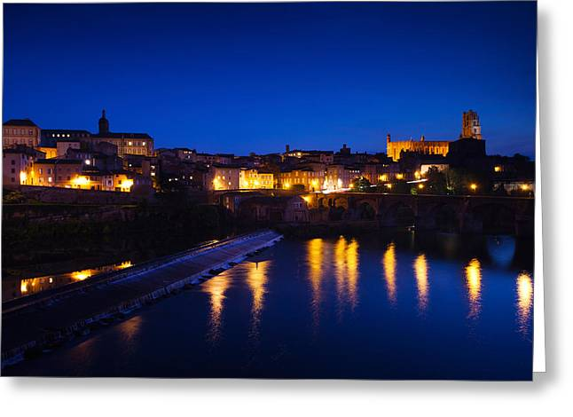 Town With Cathedrale Sainte-cecile Greeting Card by Panoramic Images