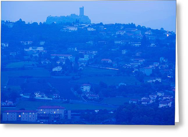 Town With Chateau De Polignac Greeting Card by Panoramic Images