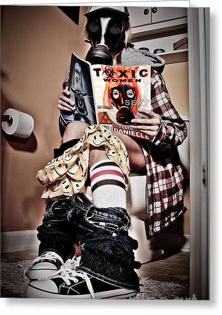Toxic Bathroom Time Greeting Card by Jt PhotoDesign
