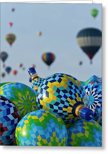 Toy Balloons At The Albuquerque Hot Air Greeting Card by William Sutton