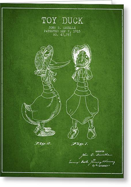 Toy Duck Patent From 1915 - Female - Green Greeting Card by Aged Pixel