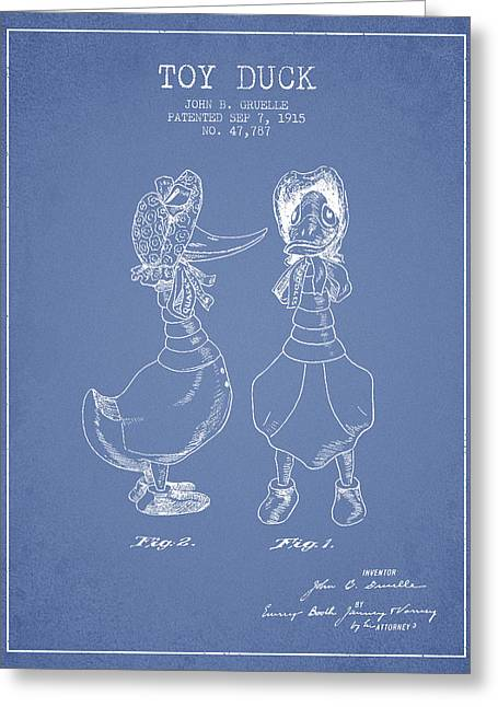 Toy Duck Patent From 1915 - Female - Light Blue Greeting Card by Aged Pixel
