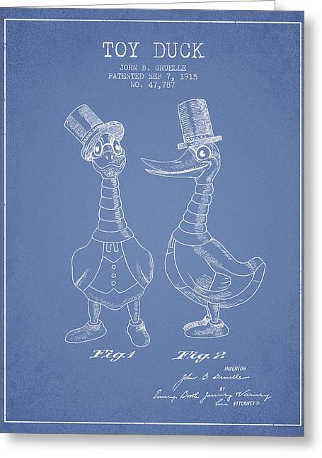 Toy Duck Patent From 1915 - Male - Light Blue Greeting Card by Aged Pixel
