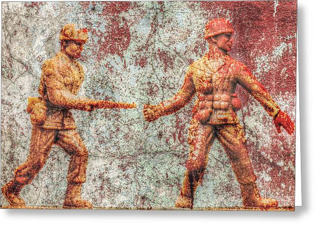 Toy Soldiers Battle Hardened Greeting Card by Randy Steele