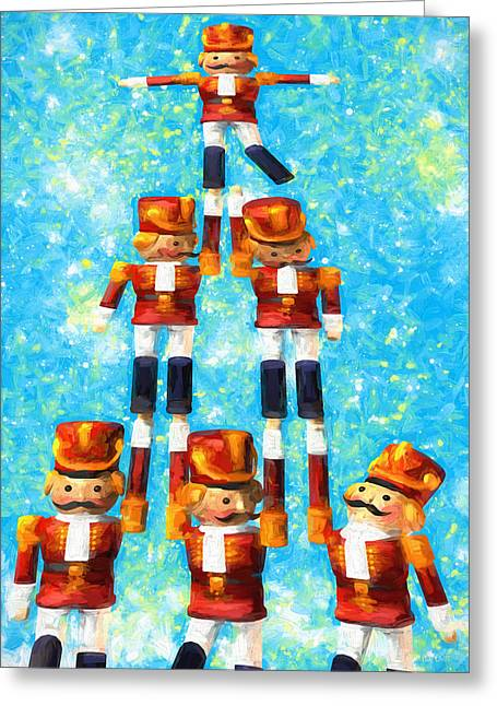 Toy Soldiers Make A Tree Greeting Card by Bob Orsillo