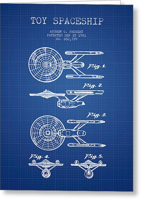Toy Spaceship Patent From 1981 - Blueprint Greeting Card