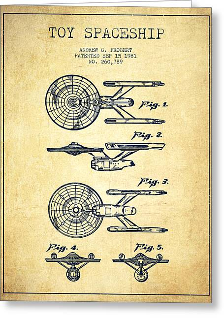 Toy Spaceship Patent From 1981 - Vintage Greeting Card