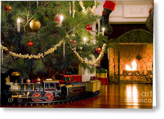 Toy Train Under The Christmas Tree Greeting Card