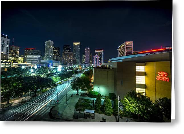 Toyota Center And Downtown Houston Greeting Card