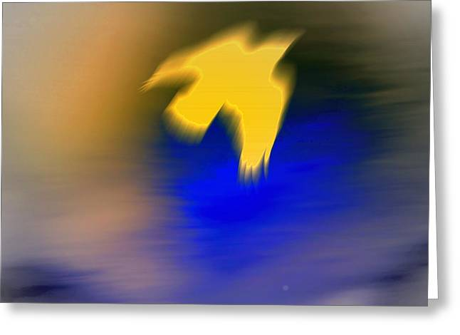 A Yellow Trace Of A Bird Flying Away  Greeting Card by Hilde Widerberg