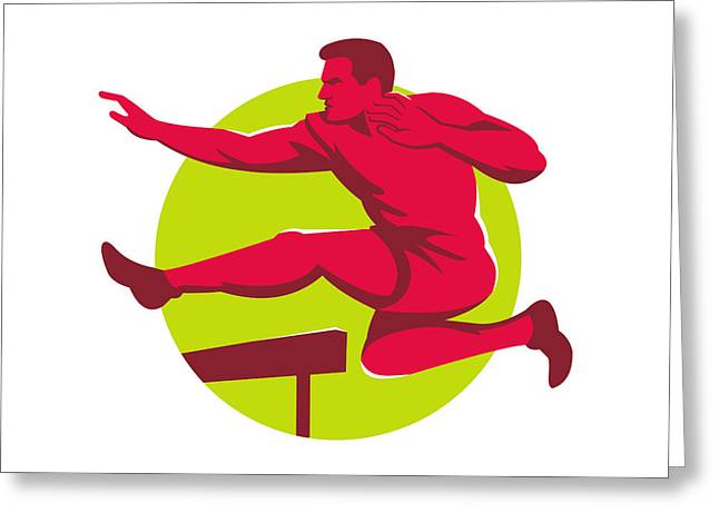 Track And Field Athlete Jumping Hurdles Greeting Card by Retro Vectors