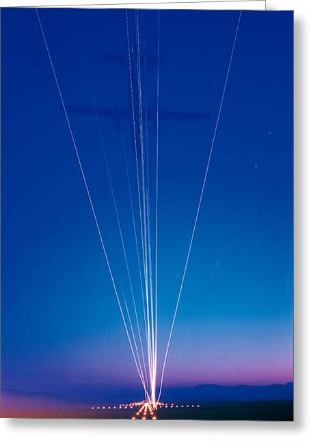 Track Lights Zurich Airport Switzerland Greeting Card by Panoramic Images