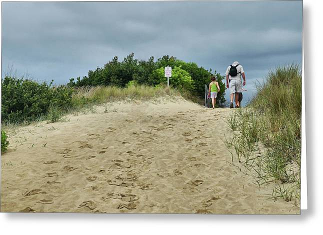 Tracks In The Sand Greeting Card by Barbara Manis