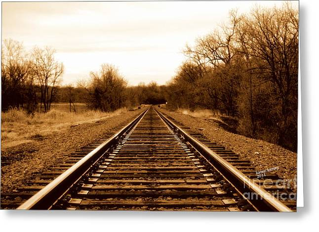 Tracks To No Where Greeting Card by Karen Kersey