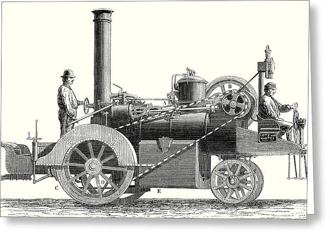 Traction Engine Or Steam Car Invented By M Greeting Card by M. Lotz, 19th Century, French