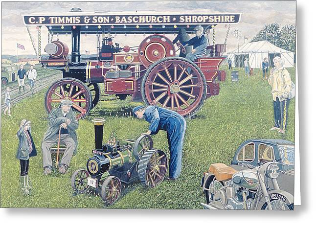 Traction Engines At The Show, 1993 Gouache On Card Greeting Card by Huw S. Parsons